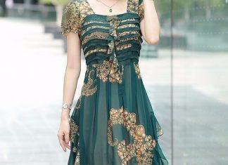 váy đầm dự tiệc cưới tuổi trung niên
