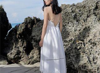 váy đầm trắng đi biển