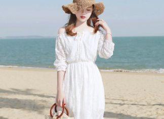 váy đầm đi biển màu trắng