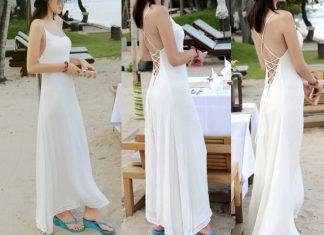 váy đầm maxi đi biển hở lưng