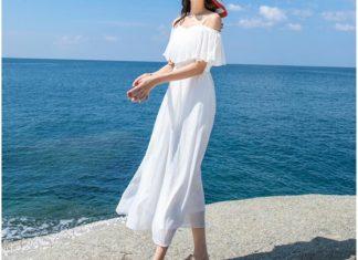 váy đầm maxi trắng đi biển