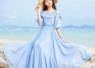 váy đầm maxi voan đi biển